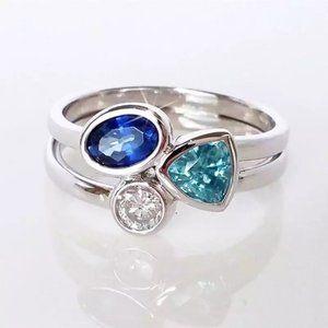 NWT Size 8 Multicolor Silver CZ Ring